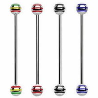 Striped Color Ball Surgical Steel Industrial Barbells