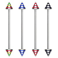 Striped Color Cone Surgical Steel Industrial Barbells