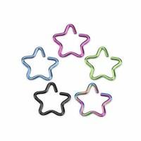 Titanium Anodized Star Shape Cartilage Tragus Rings
