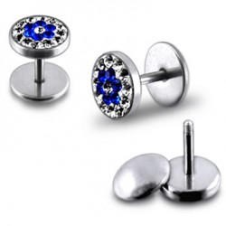 Multi Sapphire Crystals Flower Fake Plugs Faux Ear Plugs