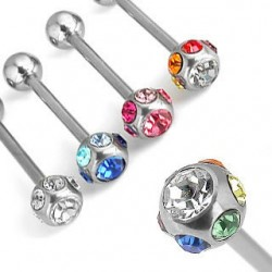 Straight Barbell with Single 7 Crystals Gem Ball