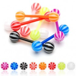 Flexible BIO Straight Tongue Barbell with Acrylic Beach Balls