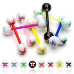 Flexible BIO Straight Tongue Barbell with Acrylic Butterfly Balls