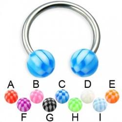 Acrylic UV Checkered Balls Circular Barbells / Horseshoes