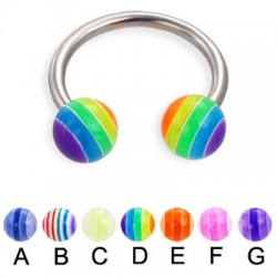 Multi Striped Colors Acrylic UV Balls Circular Barbells / Horseshoes