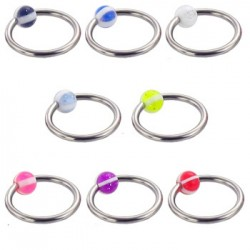 Surgical Steel Captive Bead Rings with Strip Color Acrylic UV Ball