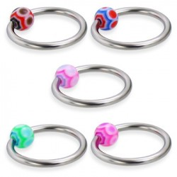 Surgical Steel Captive Bead Rings with Spider Web Acrylic UV Ball