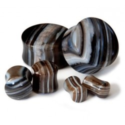 Arc Sides Lined Agate Double Flare Stone Plugs