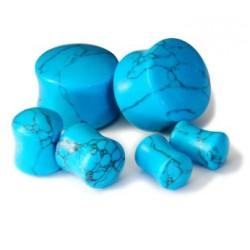Arc Sides Turquoise Double Flare Stone Plugs