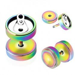 Rainbow Anodized Surgical Steel Soda Can Fake Plugs Faux Ear Plugs