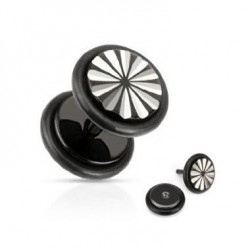 Black Anodized Grooved Cut Fake Plugs Faux Ear Plugs with Rubber O-rings