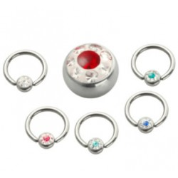 Epoxy Crystaline Ball Surgical Steel Captive Bead Rings