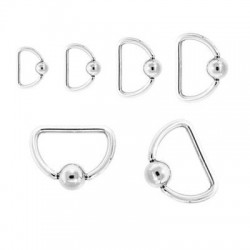 Surgical Steel Captive Bead D-Rings