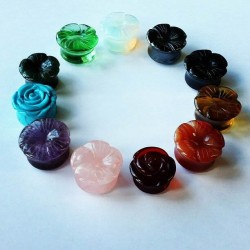 Carving Rose Flower Double Flare Stone Plugs