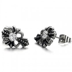 Casting Punk Cross Prong Set Round CZ Stainless Steel Ear Studs