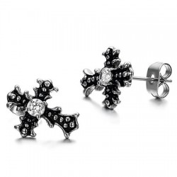 Casting Cross Prong Set Round CZ Stainless Steel Ear Studs