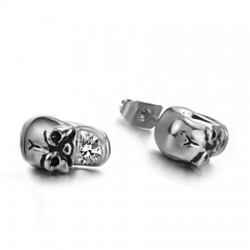 Casting Skull Round CZ Stainless Steel Ear Studs