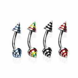 Striped Color Cone Surgical Steel Banana / Curved Barbells