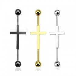 Surgical Steel Ball Industrial Barbell with Cross in Center