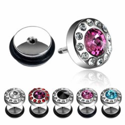 Surgical Steel Multi Crystals Rim Fake Plugs Faux Ear Plugs