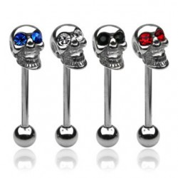 Surgical Steel Straight Barbell with Gem Skull