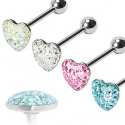 Epoxy Crystaline Heart Surgical Steel Straight Barbells