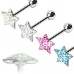 Epoxy Crystaline Star Surgical Steel Straight Barbells