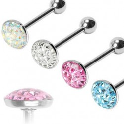 Epoxy Crystaline Disk Surgical Steel Straight Barbells
