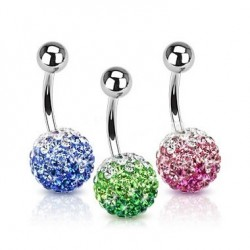 Layered Color Multi Crystaline Ferido Ball Navel Belly Rings