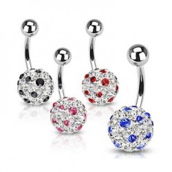 Dot Multi Crystaline Ferido Ball Navel Belly Rings