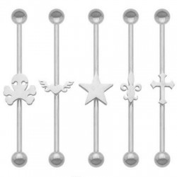 Surgical Steel Ball Industrial Barbell with Cutting Design in Center