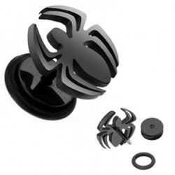 Black Anodized Spider Fake Plugs Faux Ear Plugs with Rubber O-rings