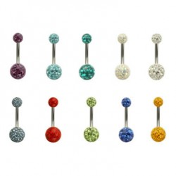 Double Epoxy Crystaline Ferido Ball Surgical Steel Navel Belly Ring