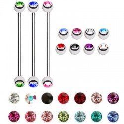 Double Jeweled Ball Surgical Steel Industrial Barbells