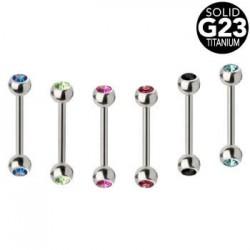 G23 Titatnium Double Jeweled Balls Straight Tongue Barbells
