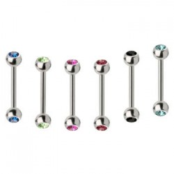 Surgical Steel Double Gem Ball Straight Barbells