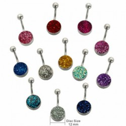 Belly Button Ring with Epoxy Glitter 12mm Disc