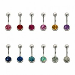 Belly Button Ring with Epoxy Glitter 8mm Ball