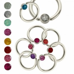 Epoxy Glitter Ball Surgical Steel Captive Bead Rings
