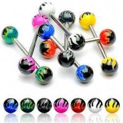 Acrylic UV Flaming Balls Straight Tongue Barbells