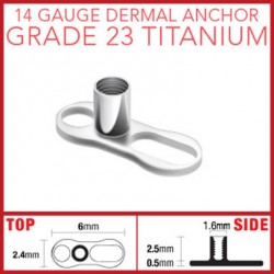 G23 Titanium Dermal Anchor Base Part with 2 Holes
