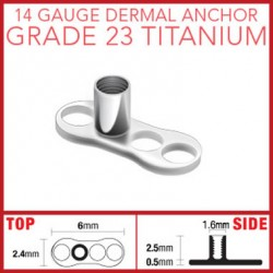 G23 Titanium Dermal Anchor Base Part with 3 Holes