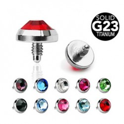 G23 Titanium Internally Threaded Press-set Gem Flat Bottom Disc Dermal Top Parts