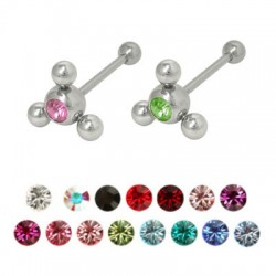 Surgical Steel Straight Barbell with Flower Gem Balls