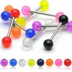 Acrylic UV Glitter Balls Straight Tongue Barbells