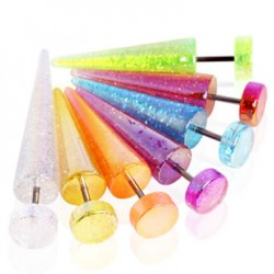 Glittering Acrylic UV Fake Tapers Faux Ear Plug Tapers