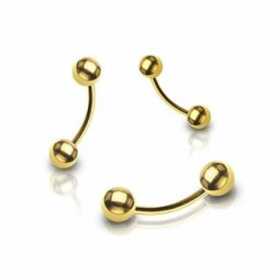 Gold Plated Ball Surgical Steel Banana / Curved Barbells