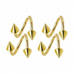 Gold Plated Surgical Steel Spiral / Twister Barbells with Cones