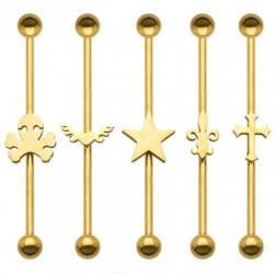 Gold Plated Steel Ball Industrial Barbell with Cutting Design in Center