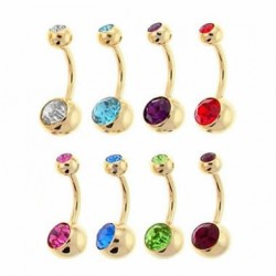 Gold Plated Belly Button Ring with Double Jeweled Balls